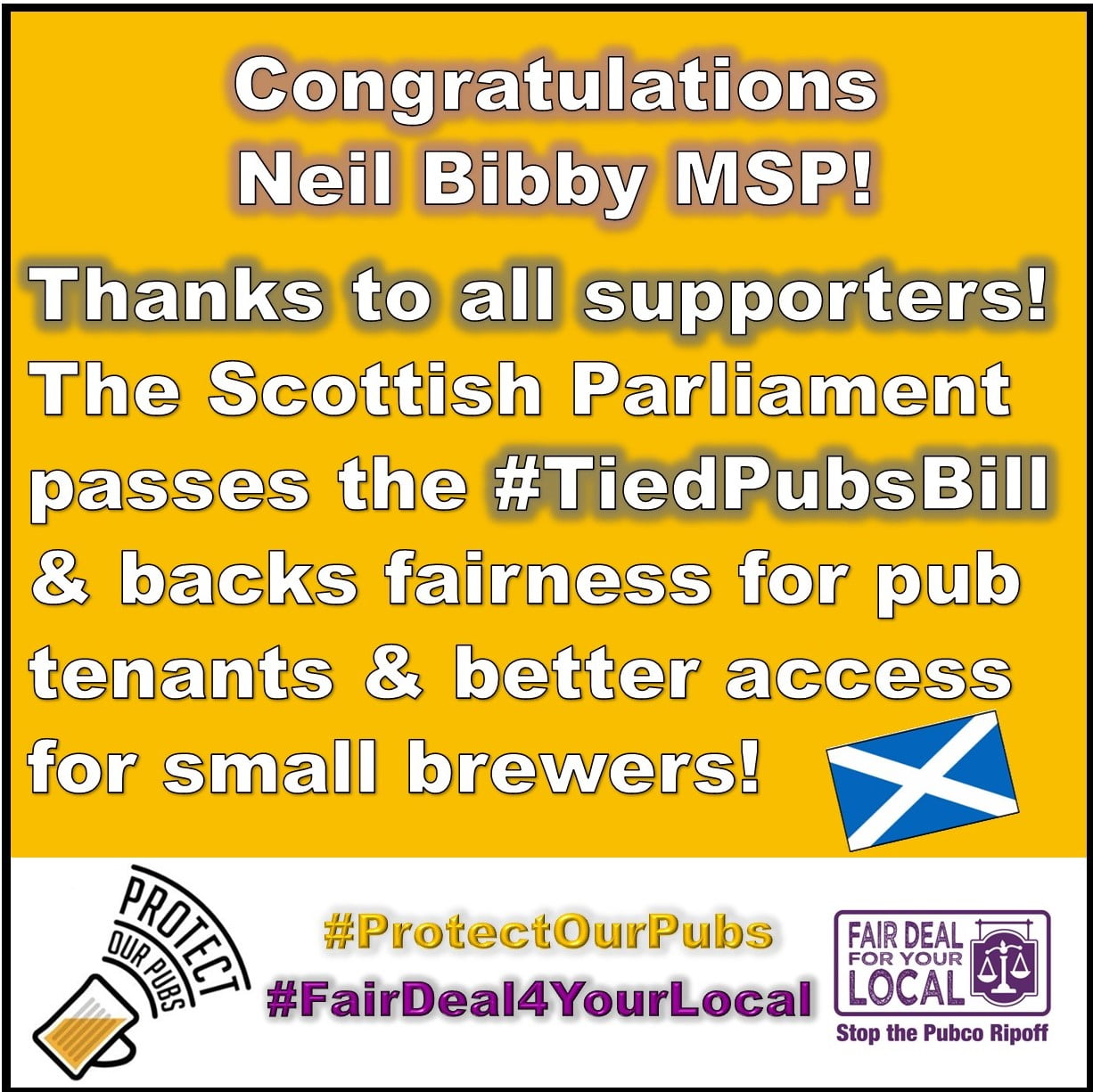 A victory for Scotland's pub tenants and small brewers as the Scottish Parliament passes the Tied Pubs (Scotland) Bill